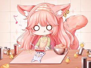 Rating: Safe Score: 36 Tags: animal animal_ears apron bird blush catgirl chibi drink food gray_hair headdress honyang music original pink_hair tail User: Nepcoheart