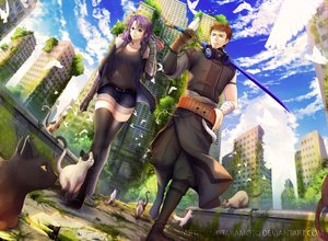 Rating: Safe Score: 27 Tags: animal bird brown_hair building cat clouds elbow_gloves gloves green_eyes headphones long_hair male purple_eyes purple_hair ruins scenic short_hair shorts sky sword tagme_(artist) thighhighs watermark weapon zettai_ryouiki User: BattlequeenYume