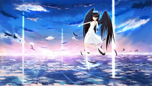 Rating: Safe Score: 141 Tags: angel clouds dress feathers halo kikivi original scenic sky wings User: FormX