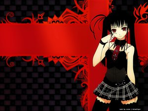 Rating: Safe Score: 91 Tags: black_hair gothic long_hair murakami_suigun red_eyes skirt thighhighs tie twintails User: Nocyta