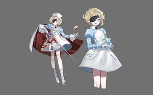 Rating: Safe Score: 35 Tags: blonde_hair blood blue_eyes cape dress drink eyepatch fang flat_chest gloves gray gwayo headdress kneehighs nurse original short_hair sword weapon User: otaku_emmy