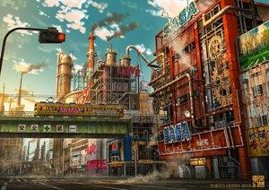 Rating: Safe Score: 71 Tags: clouds industrial nobody original ruins scenic sky tokyogenso train watermark User: RyuZU