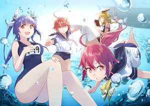 Rating: Safe Score: 88 Tags: bubbles i-168_(kancolle) i-19_(kancolle) i-58_(kancolle) i-8_(kancolle) kantai_collection panda_(pandadesu) school_swimsuit swimsuit underwater water User: FormX