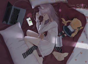 Rating: Safe Score: 44 Tags: animal_ears bed catgirl computer crying doll jcj0125 long_hair original pajamas phone purple_hair tail tears User: Fepple