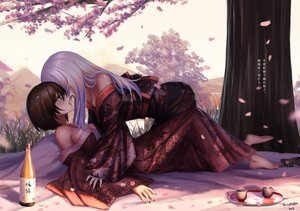 Rating: Questionable Score: 87 Tags: 2girls barefoot blush brown_hair cherry_blossoms drink japanese_clothes jpeg_artifacts kimono kiss long_hair original red_eyes short_hair signed translation_request tree white_hair yuri yurichtofen User: BattlequeenYume