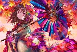 Rating: Safe Score: 43 Tags: autumn braids brown_hair flowers japanese_clothes kazu_(muchuukai) kimono leaves original pink_eyes umbrella User: BattlequeenYume