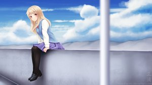 Rating: Safe Score: 80 Tags: blonde_hair clouds long_hair miura_naoko pantyhose red_eyes sakura-sou_no_pet_na_kanojo seifuku shiina_mashiro sky User: gnarf1975