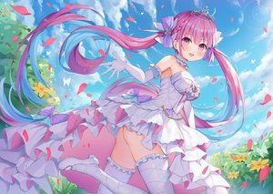 Rating: Safe Score: 109 Tags: ass hokori_sakuni hololive long_hair minato_aqua nopan pink_eyes pink_hair thighhighs tiara twintails wedding_attire User: Fepple