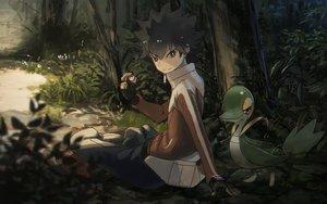 Rating: Safe Score: 74 Tags: all_male black_eyes black_hair forest gloves grass hue_(pokemon) male pokemon rounin_(amuza) snivy tree User: STORM