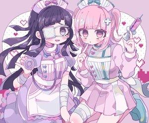 Rating: Safe Score: 23 Tags: 2girls aeruusa apron bandage black_hair blush dangan-ronpa dangan-ronpa_2 eyepatch heart lolita_fashion long_hair nanami_chiaki new_dangan-ronpa_v3 nurse pink_eyes pink_hair purple_eyes tsumiki_mikan twintails User: otaku_emmy