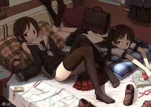 Rating: Questionable Score: 312 Tags: 2girls bail bed blush book brown_eyes brown_hair food kneehighs nude original phone pocky ribbons school_uniform short_hair signed skirt thighhighs twintails User: w7382001