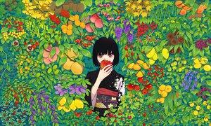 Rating: Safe Score: 105 Tags: apple black_hair cherry food fruit japanese_clothes kimono leaves orange_(fruit) original red_eyes short_hair urue User: STORM