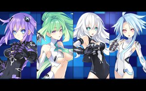 Rating: Safe Score: 159 Tags: black_heart blue_eyes blue_hair green_hair green_heart hyperdimension_neptunia long_hair purple_hair purple_heart skintight tsunako twintails white_heart User: meccrain