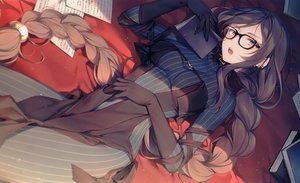 Rating: Safe Score: 134 Tags: blush book braids brown_eyes brown_hair consort_yu_(fate) dress elbow_gloves fate/grand_order fate_(series) glasses gloves long_hair paper ponytail scan toosaka_asagi User: BattlequeenYume