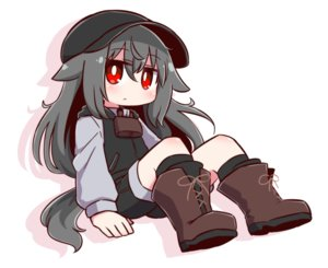 Rating: Safe Score: 15 Tags: animal_ears boots doggirl gray_hair hat long_hair naga_u original red_eyes shorts tail white User: otaku_emmy