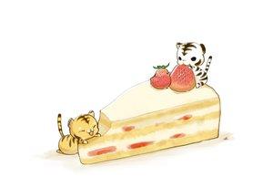 Rating: Safe Score: 32 Tags: animal bird cake chai_(artist) food fruit nobody original signed strawberry tiger white User: otaku_emmy