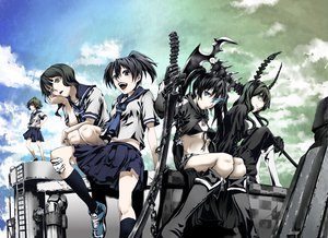 Rating: Questionable Score: 172 Tags: black_hair black_rock_shooter chain green_eyes horns kuroi_mato munakata scythe seifuku skirt sword takanashi_yomi weapon User: opai