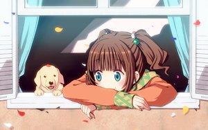 Rating: Safe Score: 53 Tags: animal aqua_eyes brown_hair chika_(orange_pop) dog idolmaster petals takatsuki_yayoi twintails User: opai