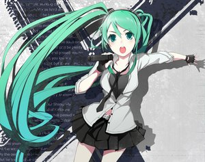 Rating: Safe Score: 90 Tags: aqua_eyes aqua_hair hatsune_miku long_hair microphone skirt tie vocaloid User: HawthorneKitty