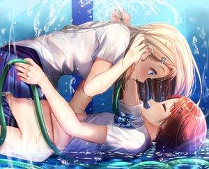 Rating: Safe Score: 70 Tags: 2girls ayase_arisa blonde_hair blue_eyes bow kousaka_yukiho long_hair love_live!_school_idol_project mad_(hazukiken) pool red_hair school_uniform shoujo_ai skirt tie water wet User: mattiasc02