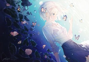Rating: Safe Score: 70 Tags: blue_eyes butterfly flowers gomzi original shirt short_hair signed skirt underwater water white_hair User: BattlequeenYume