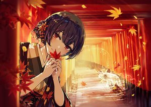 Rating: Safe Score: 54 Tags: aliasing animal autumn blush fox idolmaster idolmaster_shiny_colors leaves minyom morino_rinze purple_hair red_eyes short_hair torii User: BattlequeenYume