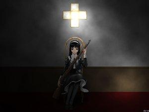 Rating: Safe Score: 41 Tags: black_eyes black_hair cross dark gun weapon User: Oyashiro-sama