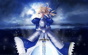 Rating: Safe Score: 70 Tags: artoria_pendragon_(all) blonde_hair blue_eyes fate_(series) fate/stay_night saber sky sword weapon User: Maboroshi