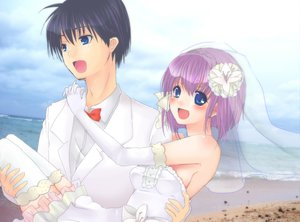 Rating: Safe Score: 25 Tags: clannad fujibayashi_ryou okazaki_tomoya wedding wedding_attire User: HawthorneKitty