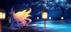 Rating: Safe Score: 114 Tags: animal_ears bow bzerox caster_(fate/extra) fate/extra fate/grand_order fate_(series) fate/stay_night foxgirl japanese_clothes long_hair night pink_hair reflection sky tail tree User: Eleanor