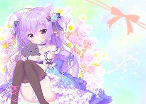 Rating: Safe Score: 64 Tags: animal animal_ears bow cat catgirl choker dress flowers kamishiro_piyo lolita_fashion long_hair original purple_eyes purple_hair rose tail thighhighs User: 蕾咪