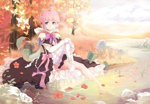 Rating: Safe Score: 96 Tags: blue_eyes bow butterfly bzerox dress flowers leaves original petals pink_hair pointed_ears ribbons thighhighs tree water User: Wiresetc