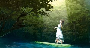 Rating: Safe Score: 92 Tags: 5_nenme_no_houkago black_hair forest kantoku original photoshop scan scenic shade shizuku_(kantoku) summer_dress tree water User: Dummy