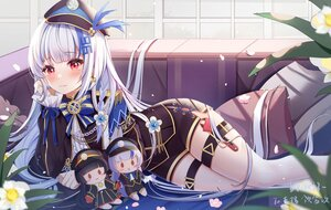 Rating: Safe Score: 51 Tags: aliasing anthropomorphism couch doll flowers hat kyuuroku long_hair maitetsu miaoguujuun_qvq red_eyes signed white_hair User: BattlequeenYume