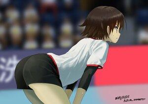 Rating: Safe Score: 58 Tags: ass autism_wanderer brown_eyes brown_hair girls_und_panzer isobe_noriko short_hair shorts signed sport volleyball User: otaku_emmy