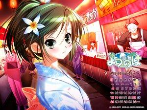 Rating: Safe Score: 27 Tags: calendar festival flowers green_eyes green_hair japanese_clothes kimono yotsunoha User: Oyashiro-sama
