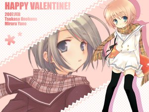 Rating: Safe Score: 11 Tags: 2girls blonde_hair green_eyes green_hair original scarf school_uniform skirt valentine User: Oyashiro-sama