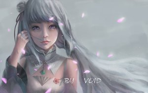 Rating: Safe Score: 92 Tags: close collar emilia gray_hair long_hair petals purple_eyes re:zero_kara_hajimeru_isekai_seikatsu signed void_0 User: FormX