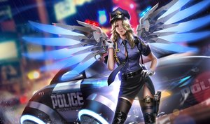 Rating: Safe Score: 123 Tags: blonde_hair blue_eyes boots car gloves gun hat liang_xing long_hair mercy_(overwatch) overwatch police police_uniform rain realistic thighhighs tie uniform water weapon wings User: RyuZU