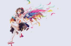 Rating: Safe Score: 97 Tags: brown_hair camera feathers hat jq red_eyes shameimaru_aya short_hair skirt thighhighs touhou wings User: FormX