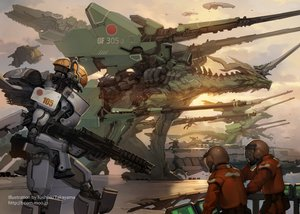 Rating: Safe Score: 139 Tags: aircraft dragon gun mecha original takayama_toshiaki weapon User: FormX
