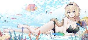 Rating: Safe Score: 56 Tags: animal barefoot bikini blonde_hair braids fate/grand_order fate_(series) fish green_eyes headband jeanne_d'arc_(fate) long_hair navel poho ponytail swimsuit underwater water User: BattlequeenYume