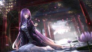 Rating: Safe Score: 339 Tags: aliasing flowers hijiri_byakuren long_hair purple_hair ryosios sunset torii touhou water yellow_eyes User: Flandre93