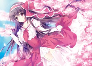 Rating: Safe Score: 106 Tags: bow brown_hair cherry_blossoms choker dress garter_belt long_hair original red_eyes soraishinya thighhighs User: opai