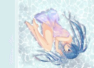 Rating: Questionable Score: 43 Tags: barefoot blue_eyes blue_hair dress hatsune_miku mebin nopan see_through twintails vocaloid water User: FormX