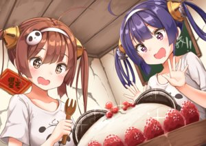 Rating: Safe Score: 41 Tags: 2girls ame. anthropomorphism azur_lane blush brown_eyes brown_hair cake food fruit headband ning_hai_(azur_lane) ping_hai_(azur_lane) purple_eyes purple_hair short_hair strawberry twintails User: RyuZU