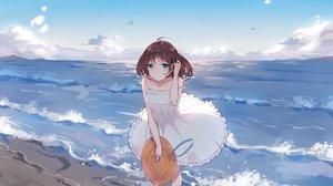 Rating: Safe Score: 52 Tags: beach brown_hair clouds dress green_eyes hat levi9452 original short_hair sky summer_dress water User: RyuZU