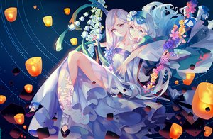 Rating: Safe Score: 40 Tags: 2girls aqua_eyes dress flowers instockee loli long_hair purple_eyes purple_hair signed white_hair User: BattlequeenYume