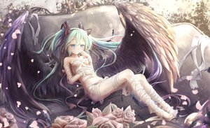 Rating: Safe Score: 83 Tags: bandage barefoot blue_eyes feathers flowers green_hair hatsune_miku long_hair necklace rose twintails utatanecocoa vocaloid wings User: BattlequeenYume