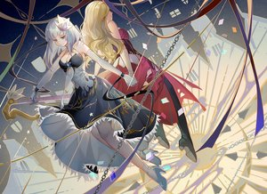 Rating: Safe Score: 21 Tags: 2girls aqua_eyes blonde_hair breasts chain cleavage dress gloves long_hair sdorica_-sunset- tagme_(character) turkey_(weave7769) white_hair User: RyuZU